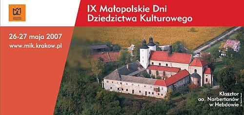 IX Małopolskie Dni Dziedzictwa Kulturowego 2007 plakat
