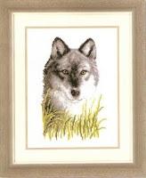 схема вышивки крестом волка