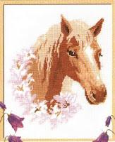 схема вышивки крестом лошадки в цветах