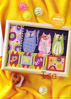 схема вышивки крестом цветные коты