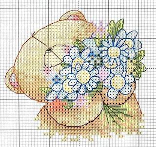 схема вышивки крестом медвежонок с букетом