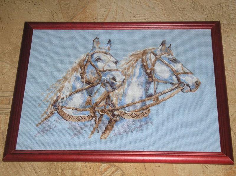 Лошади просто превосходные.  Красотки =) Картина вышивается на голубой канве.