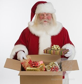 Santa Claus opening the gifts hot image