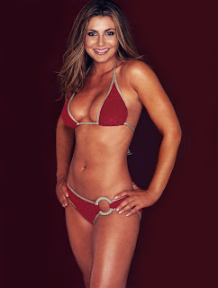 Cerina Vincent hot in red bikini wallpaper