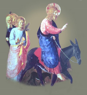 Jesus Christ on donkey with Pink and blue color dress blessing people, women and children hot image