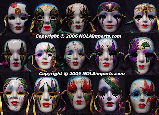 Mardi Gras masks weared on the girl dolls face in a display of shop hq(hd) wallpaper