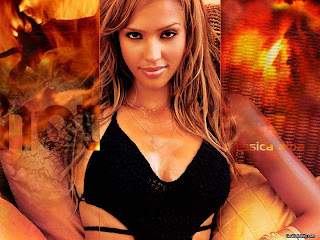 Famous celebrity Jessica Alba looking hot in black dress with fire background sexy photo