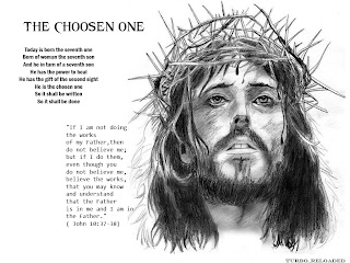 Jesus Christ with crown of thorns black and white with John 10:37-38 verse drawing art picture