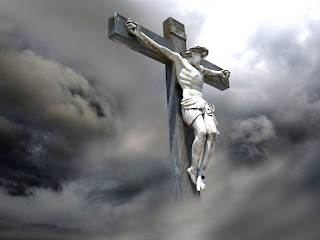 Free download Jesus Christ on wooden cross in clouds photo