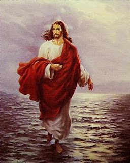 Jesus Christ walking on sea water with red shawl and white dress drawing art image