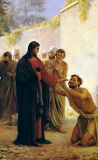 Jesus Christ blessing the person who worshiping the Jesus christ at his legs color drawing art image