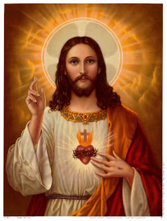 Jesus Christ sacred heart and big lighting around Jesus christ head image