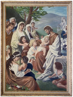 Photo frame art work of Jesus Christ with children and their family ladies free Christian religious photo