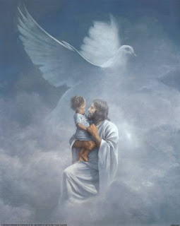 Jesus Christ with child and dove in clouds holy spirit free Christian spiritual image