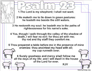 Psalm 23 Bible verse coloring page with lambs and Jesus religious Christan picture download for free