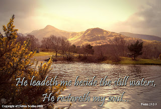 He leadeth me beside the still waters, he restoreth my soul Psalm 23:2-3 bible verse nature background with Christian bible verse greeting ecard image