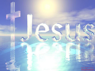 Beautiful dekstop background with background letters Jesus on water with religious Cross religious Christian picture free download
