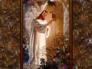 Jesus came and knocking the door at house with beautiful garden of trees hd(hq) Christian religious wallpaper free download