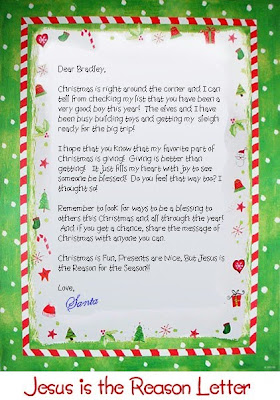 Jesus is the reason letter of Santa Claus to the cute kids with small clip art pictures Christmas Christian border design Santa letter to Children and saying about good Christmas gifts and toys to play - Jesus is the reason for the season background photo download for free