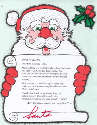 Mr. Claus and Mrs. Claus letter to small boy(small kid) for giving sack full of toys, clothes and books as Christmas gifts picture free download Christian Christmas photos