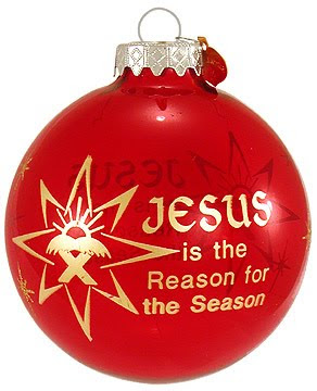 Red Christmas ball(bauble) designed and decorated with Jesus's Stable and Jesus is the reason for the season letters download Christian Christmas pictures and drawings for free