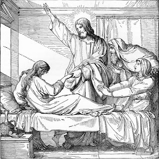 Miracle of Jesus, Christ healed Jairus daughter from the dead coloring page line art picture free download Christian images