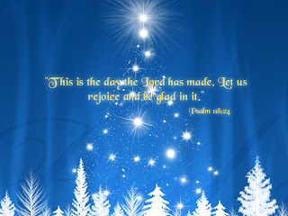 Christmas trees and stars on blue background picture with inspirational Psalm 118 24 bible verse This is the day the Lord has made. Let us rejoice and be glad in it. hd(hq) desktop wallpaper