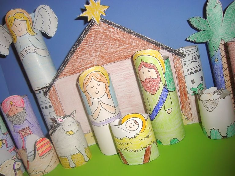 Diy printable nativity for kids for Nativity crafts to make