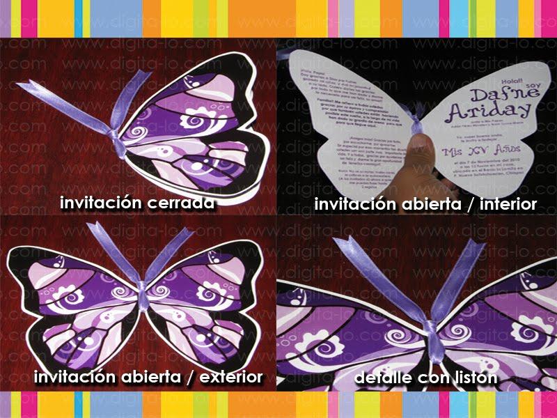 invitacion en silueta de mariposa detalle del liston disponible en ...
