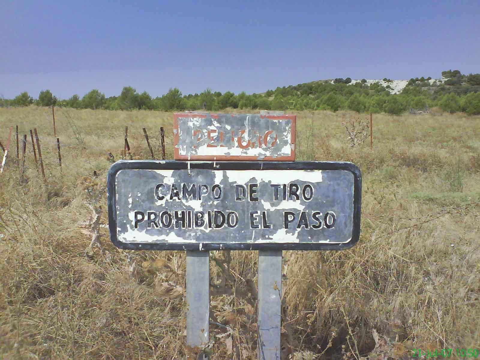 Campo de maniobras de San Gregorio tiro de carro de combate prohibido el paso Zaragoza