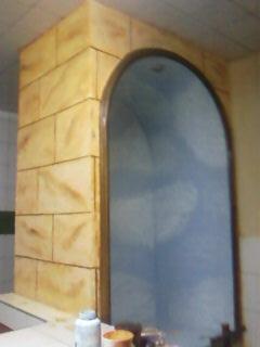 nicho en imitacion piedra y por dentro textura cielo