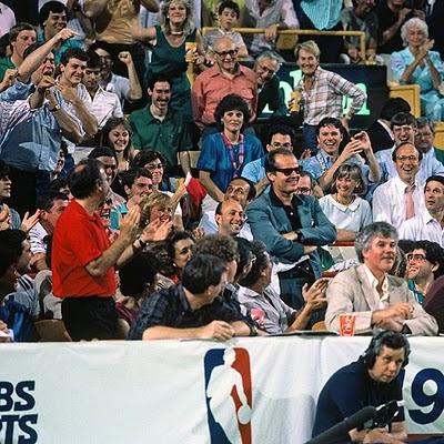 Jack Nicholson en el Boston Garden en las finales de 1985