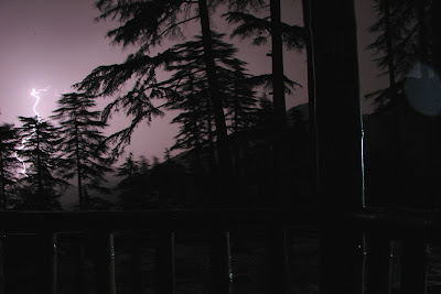 Lightnings lighting the night sky at Dhanaulti forest cottage