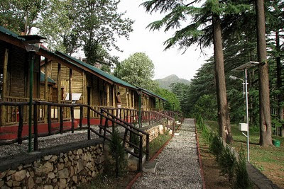 A view of the bamboo huts at Dhanaulti in a morning in summer