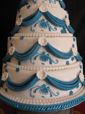 Fourtier Wedding Cake Turquoise Blue Drapes