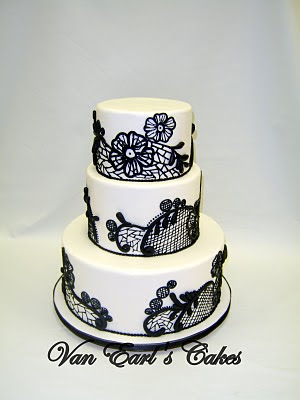 Black White Lace Wedding Cake A three tier round cake designed in black