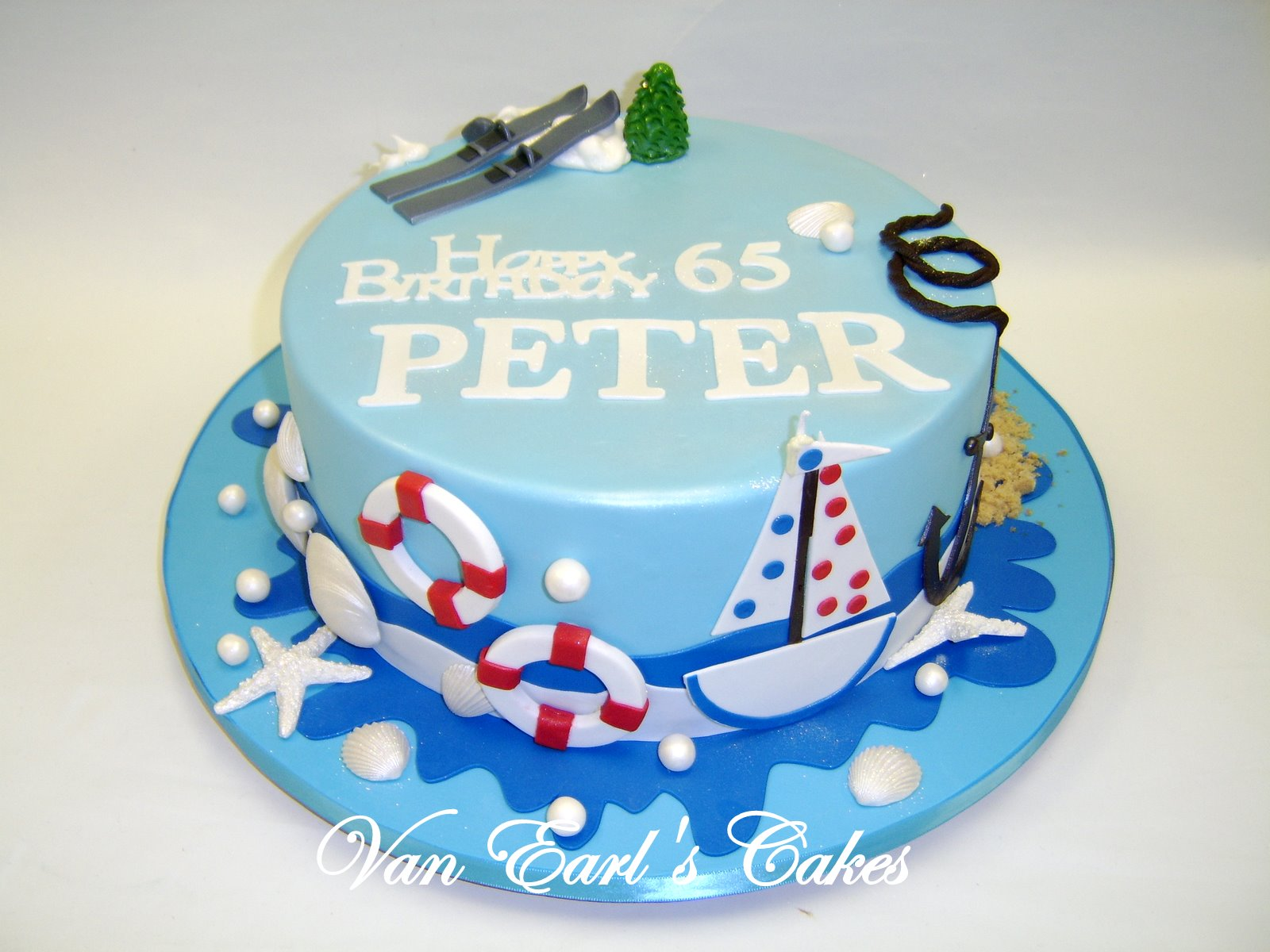 Van Earls Cakes Sailing and Skiing Birthday Cake