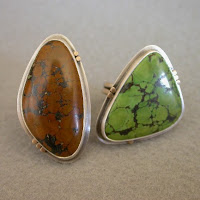 green chocolate brown turquoise silver ring