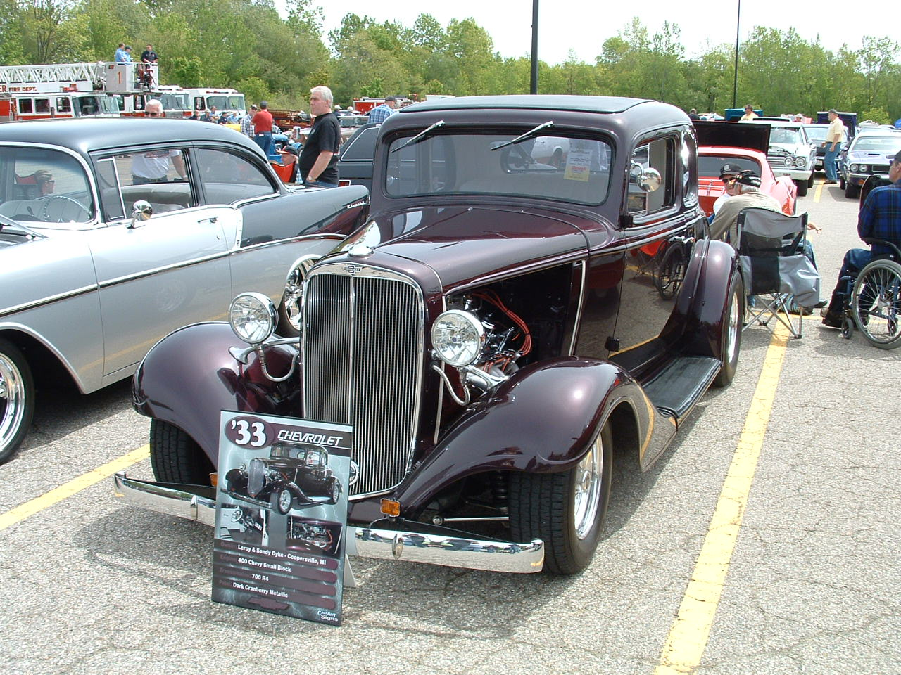 1933 Chevy in a Dark Red,