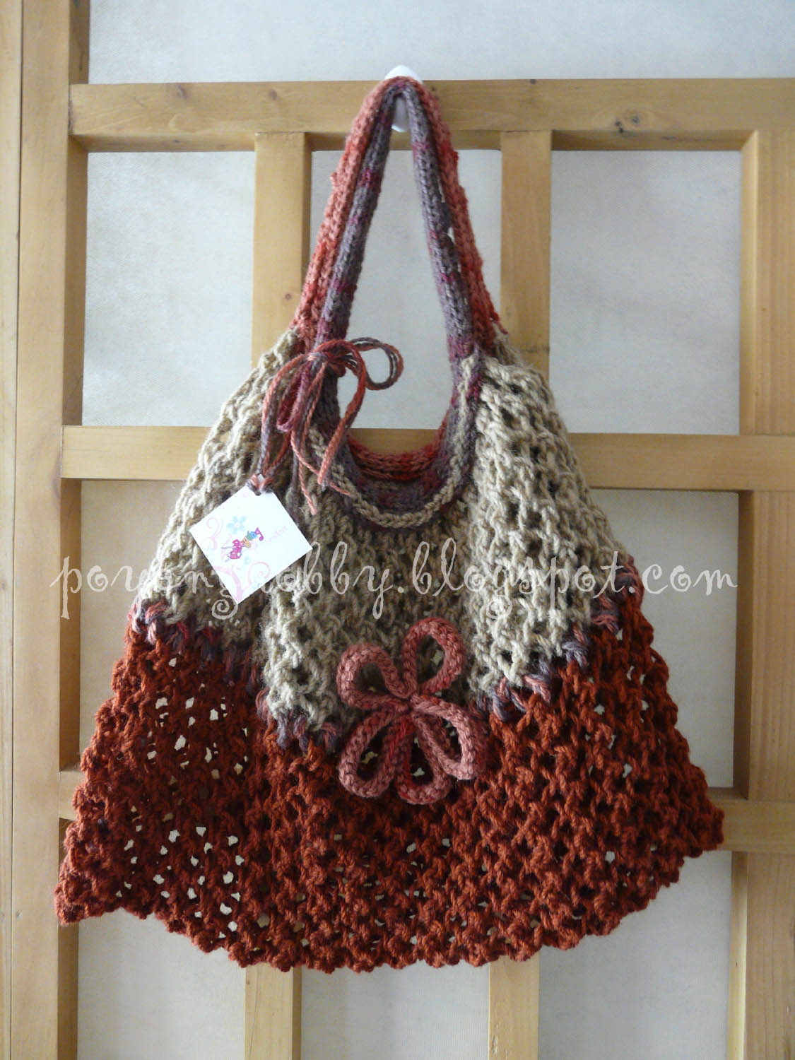 Knitting Bag Pattern : Knitting with Ajeng: Rajut Free Knitting Pattern : Nice Bag to Carry ...