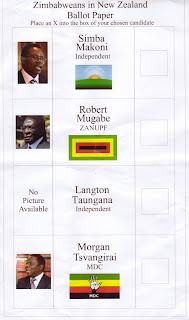 Zimbabweans in New Zealand Ballot Paper