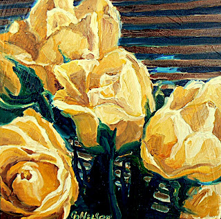 oil painting of yellow roses by Carol Nelson