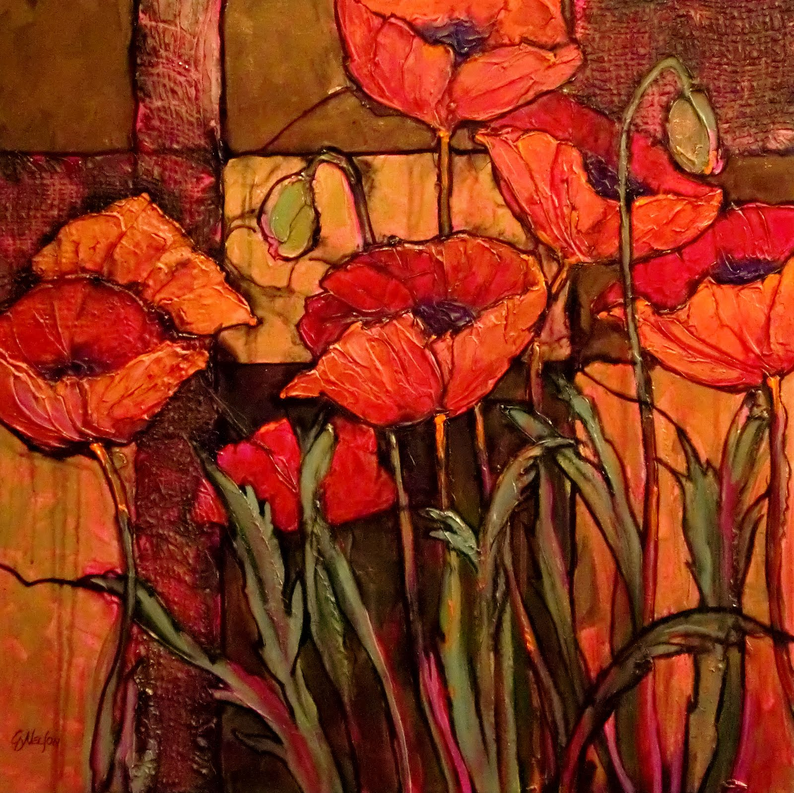 Carol nelson fine art blog seven poppies 10105 textured - How to paint poppy flowers ...
