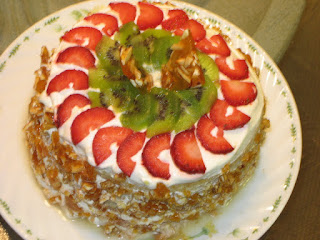 Foodie by nature PRALINE AND FRESH FRUIT GATEAU