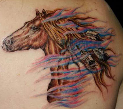 horse face front. Many horse tattoos feature the