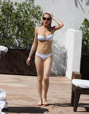 Lindsay Lohan Pictures in WHITE BIKINI from Pool