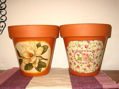 decoupage, y algo más: macetas de cerámica con decoupage