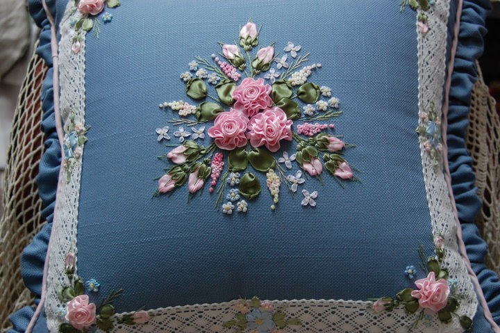 Ribbon embroidery for all occasion roses on blue cushions