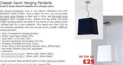 Cheaper Azumi Pendants in Black / White finish - £25 each