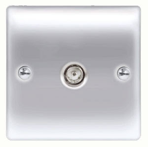 BG Nexus Metal Raised Plate 1 gang Co-axial socket in Brushed Steel Finish